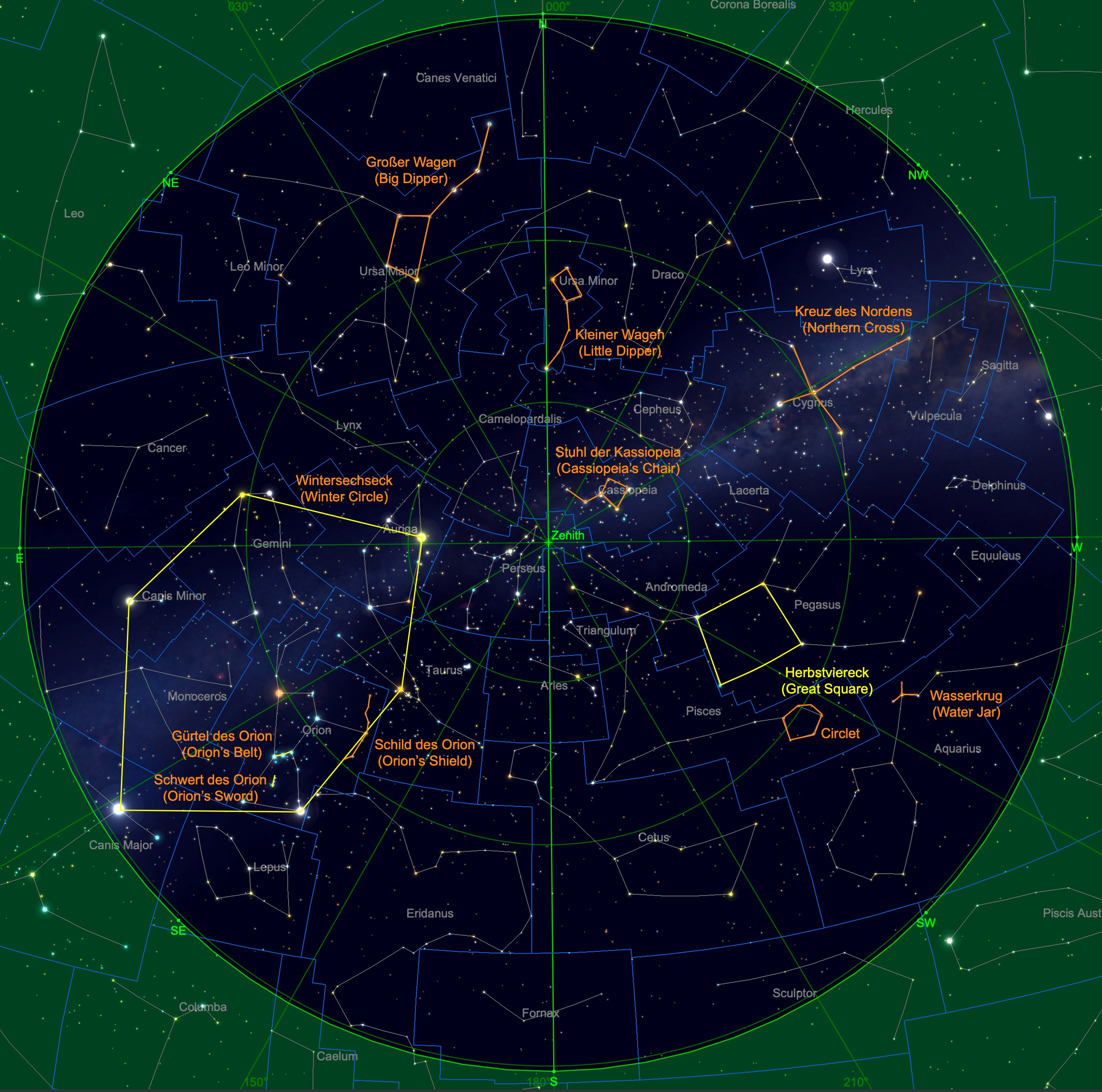Sternhimmel am 15. November, 23 Uhr