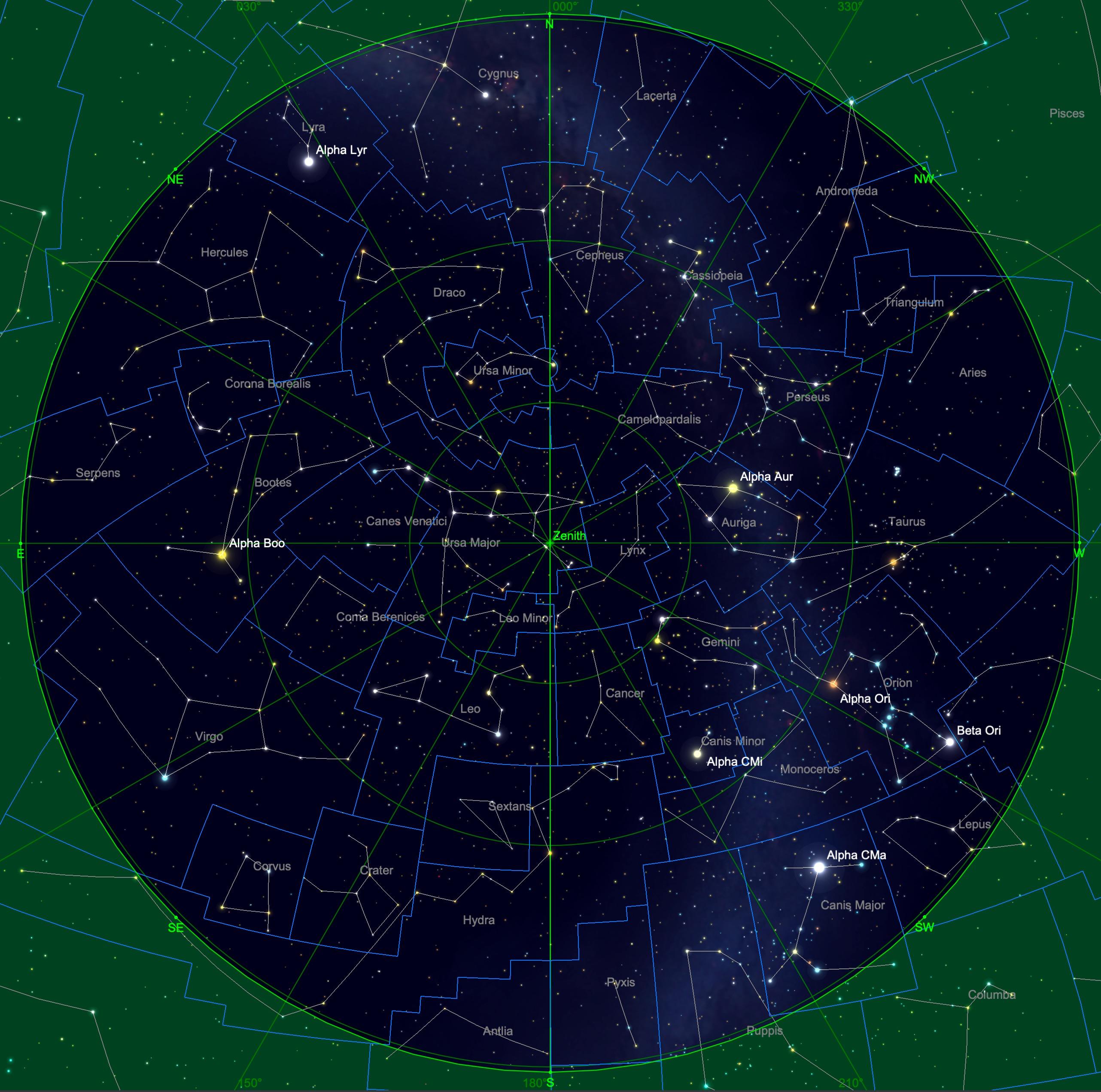 Sternhimmel am 15. Dezember um 04:00 Uhr