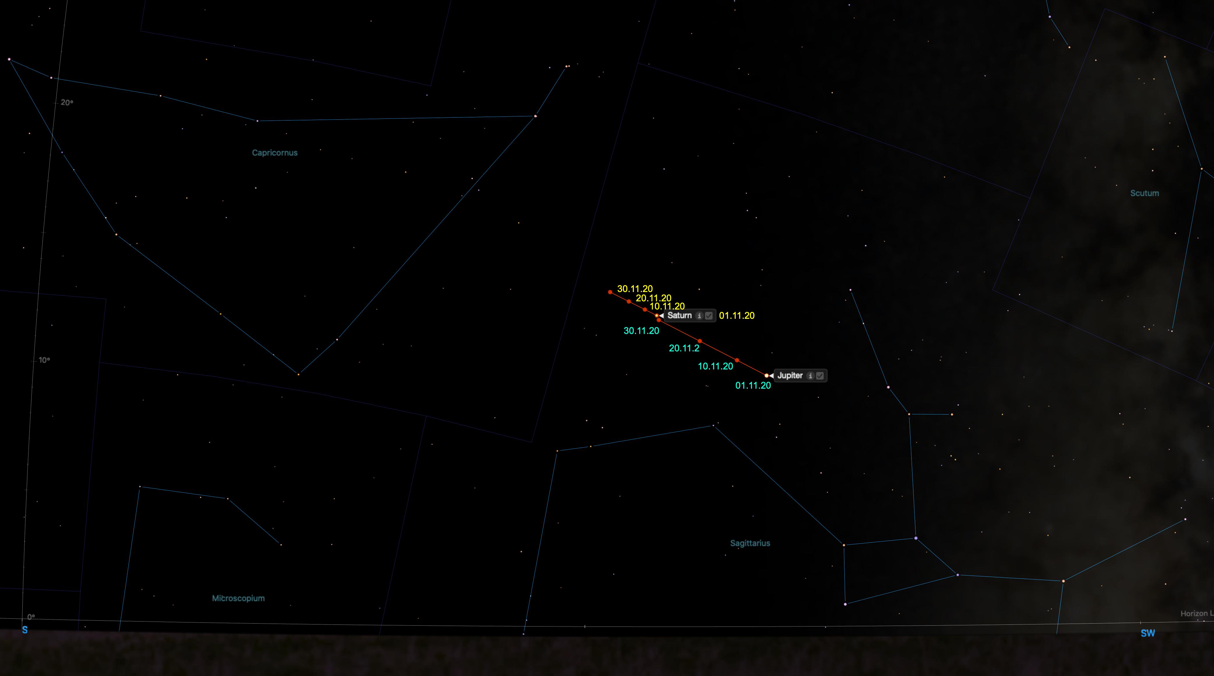 Sternenhimmel aus: Starry Night Pro Plus 8 - ergänzt um Datumsangaben