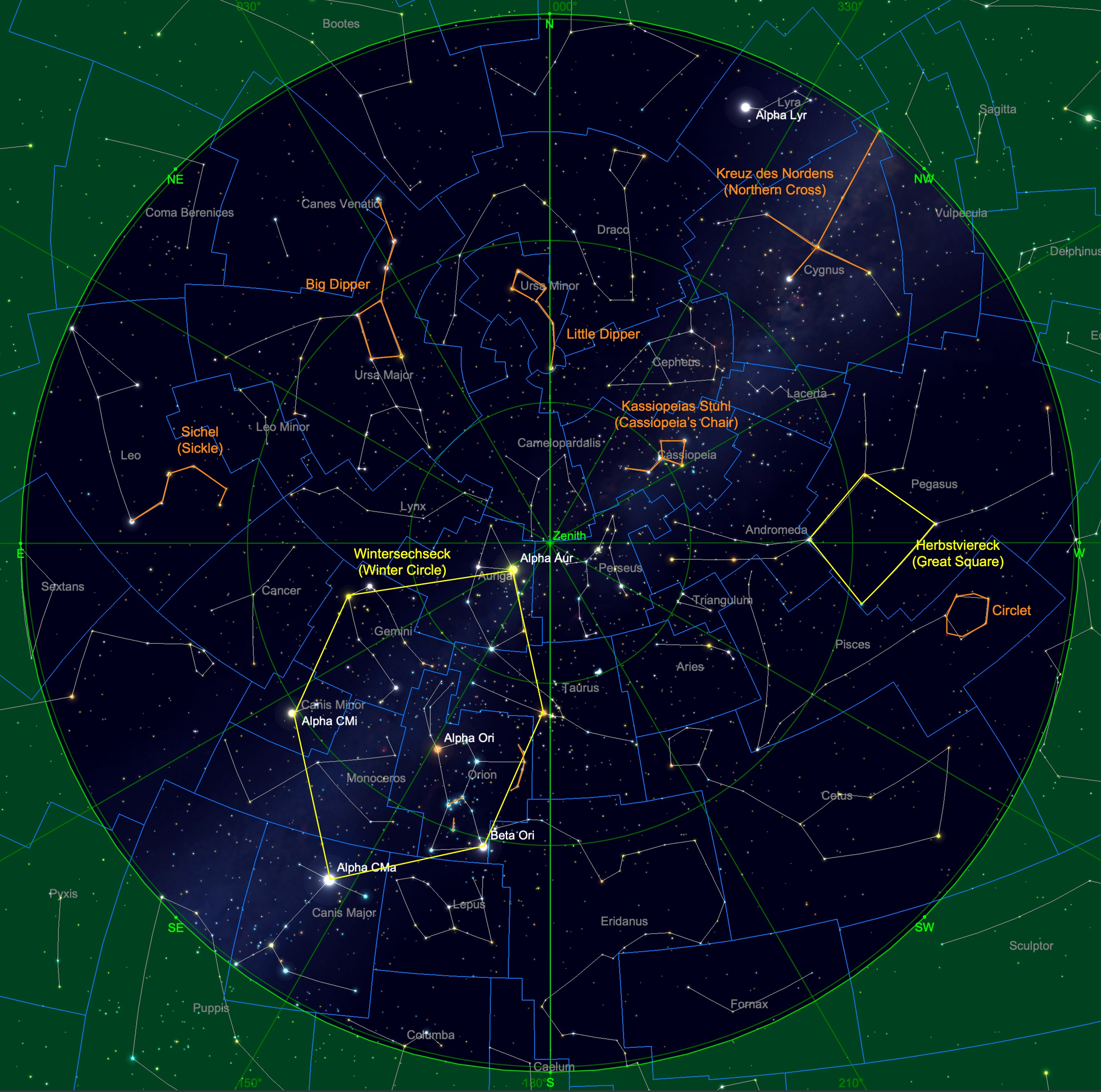 Sternhimmel am 15. Dezember, 23:00 Uhr