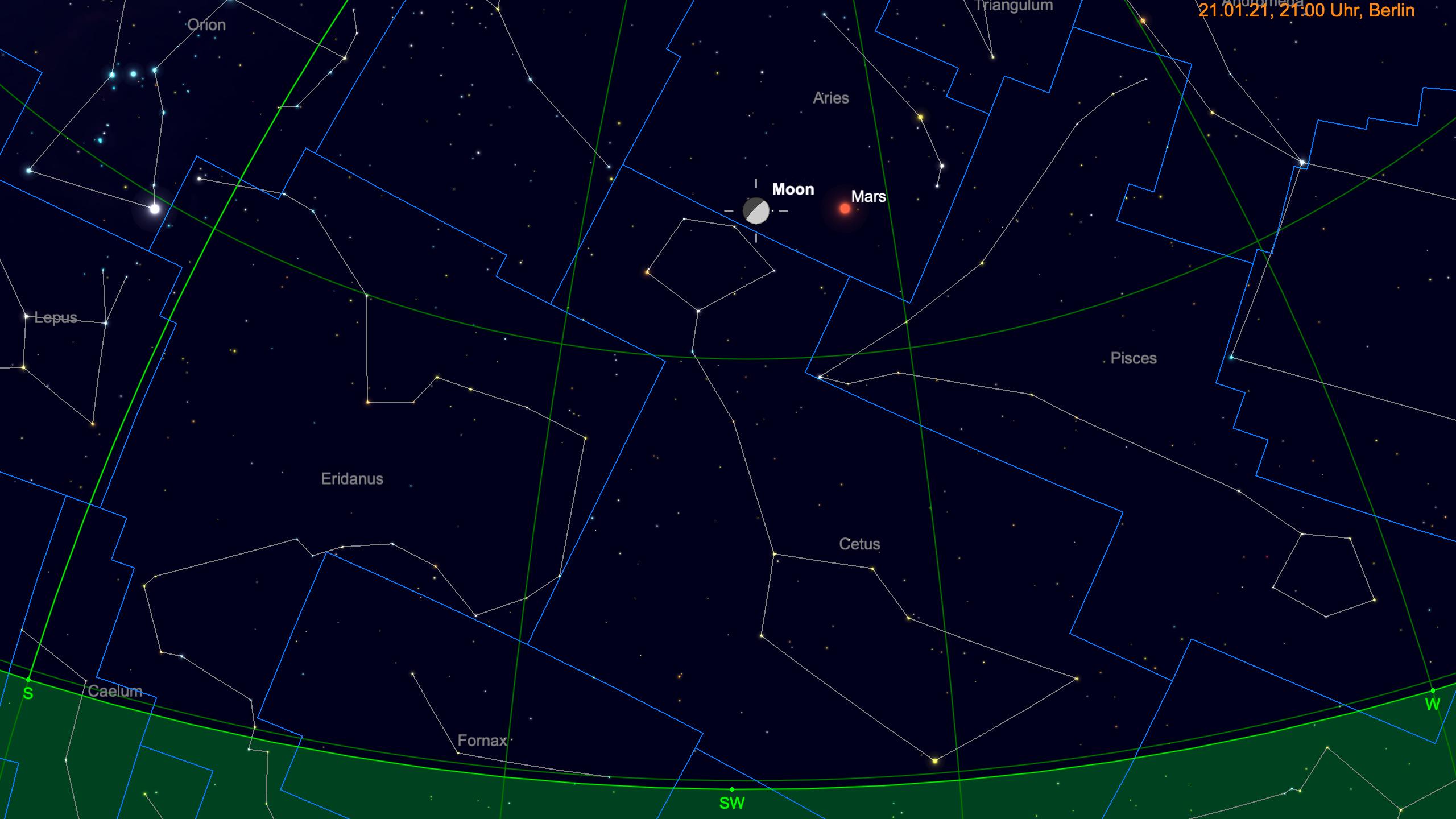 Mond und Mars am Abendhimmel