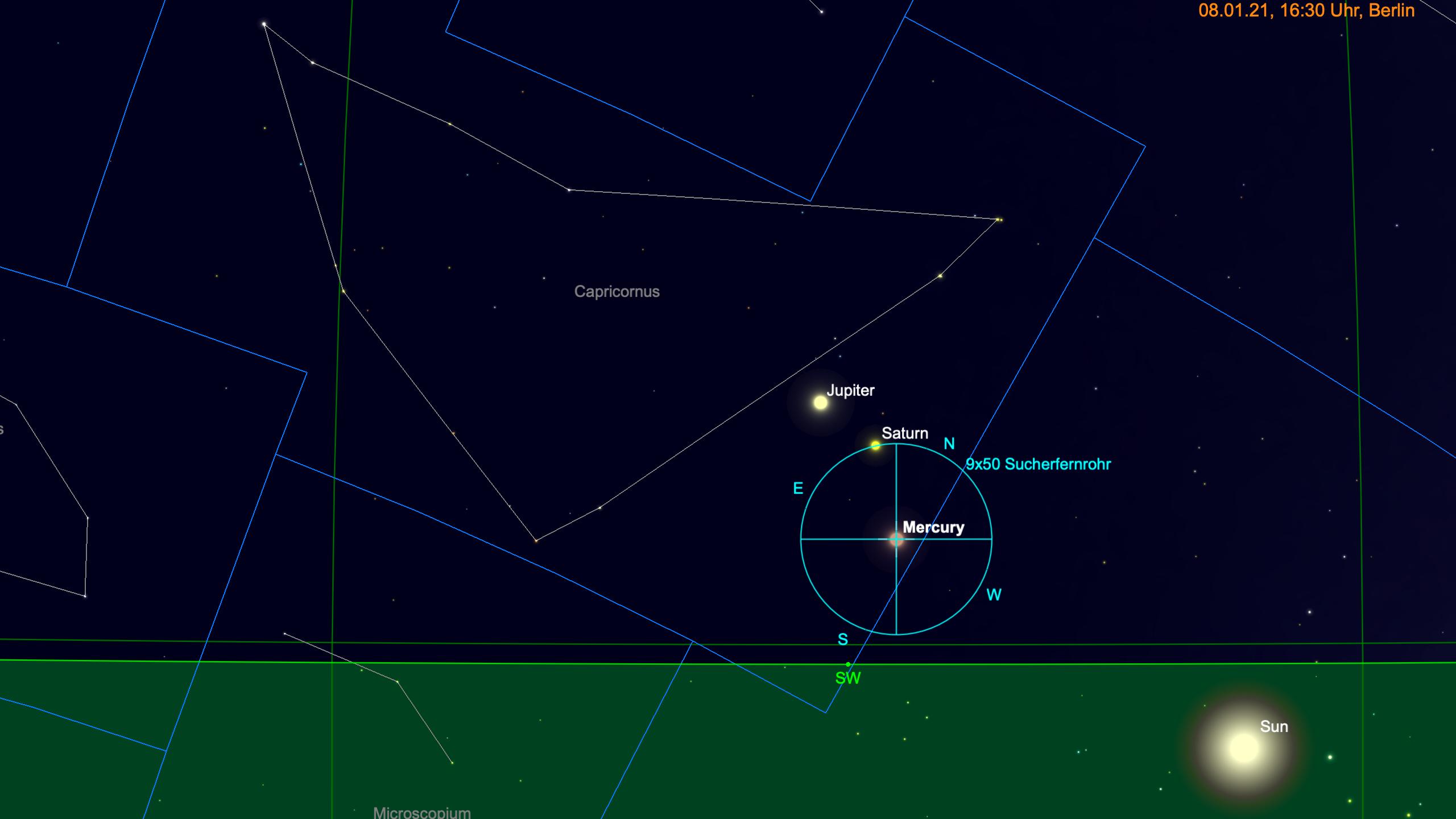Merkur bei Jupiter und Saturn
