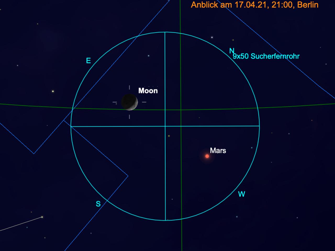 Mond und Mars im Fernglas