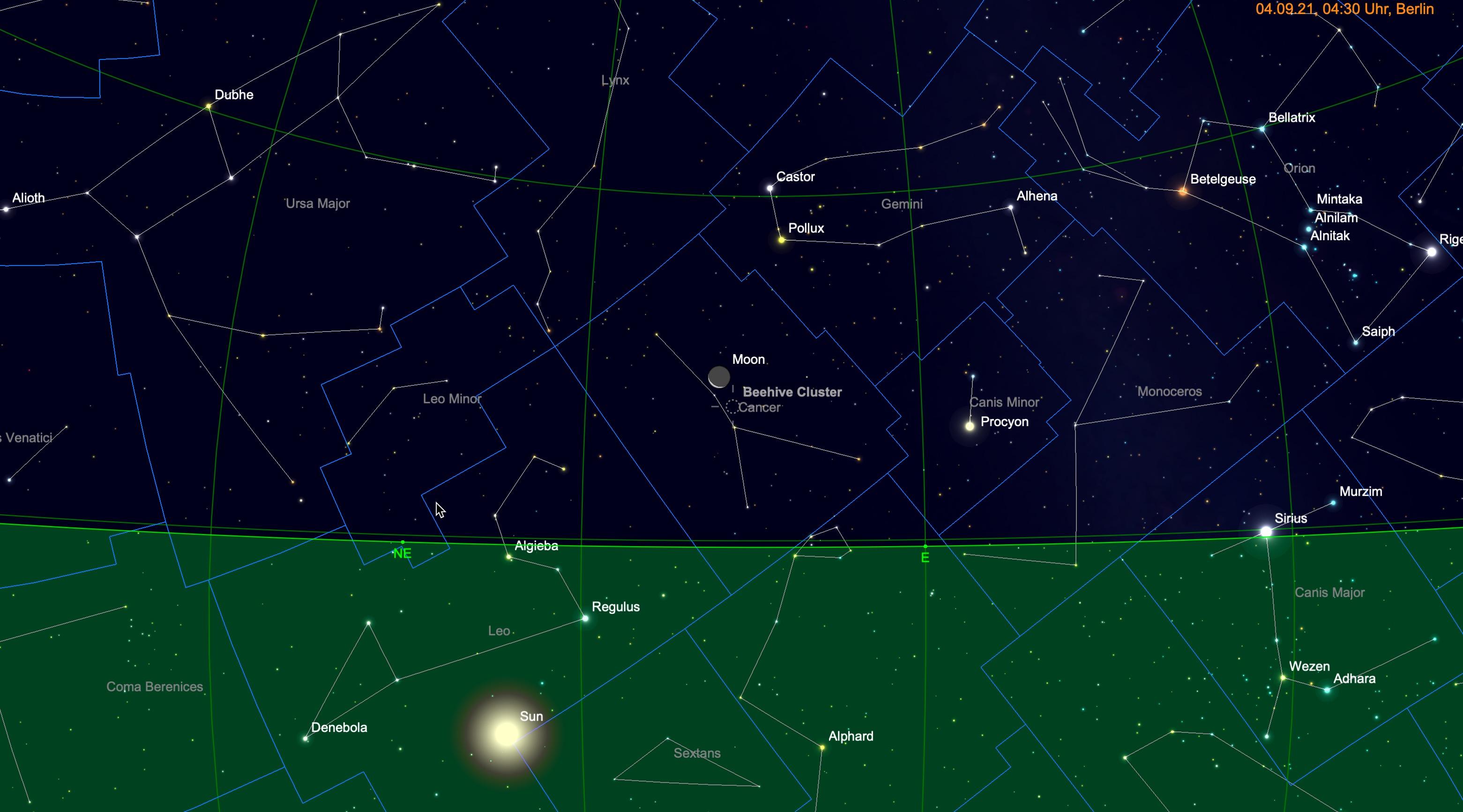 Mond bei M44