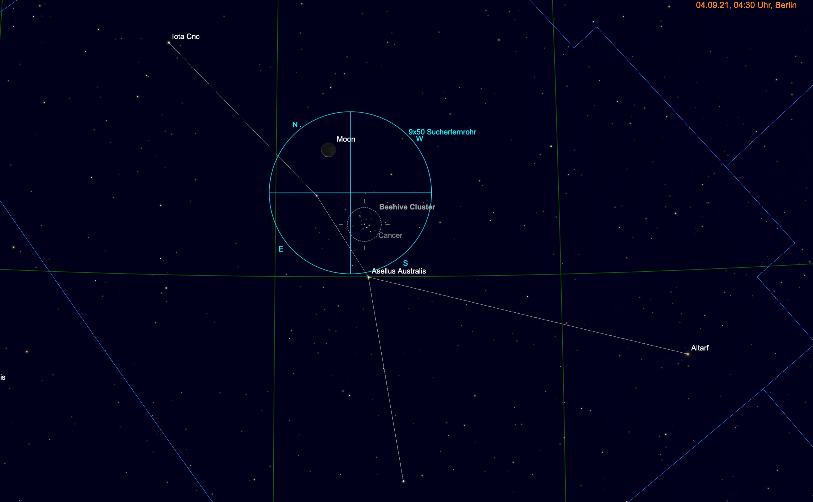Mond und M44 im Fernglas