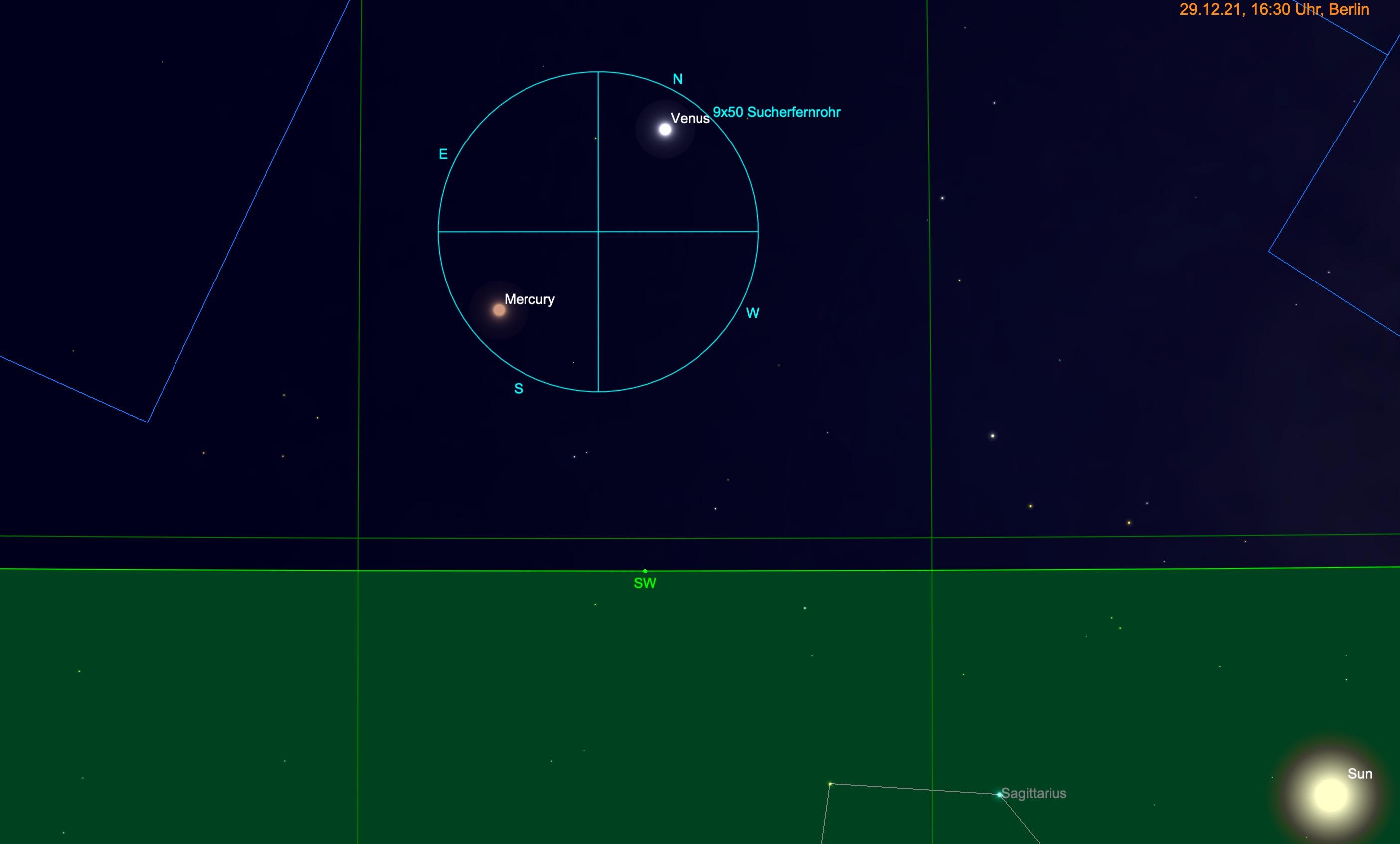Merkur und Venus im Fernglas