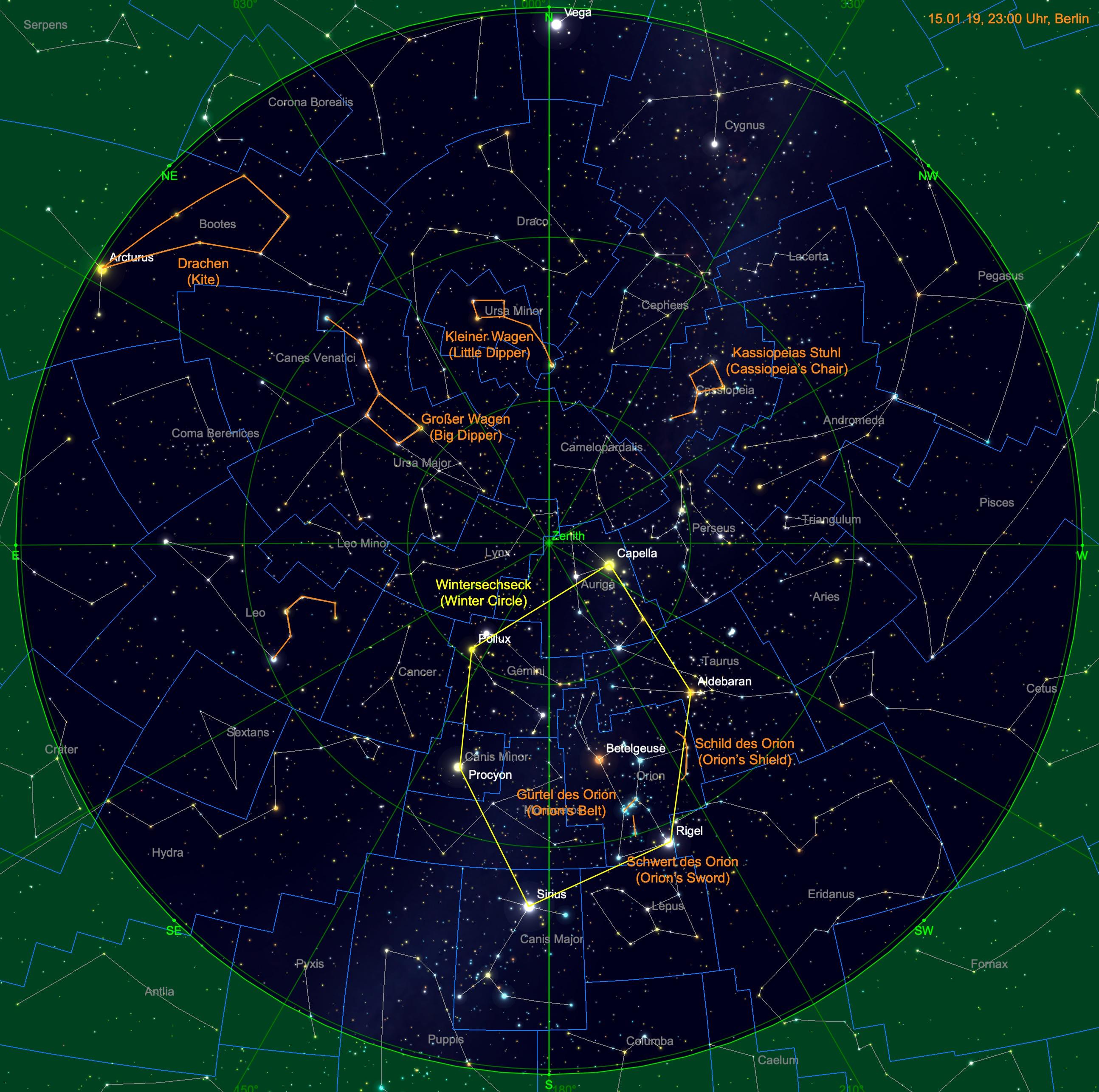 Sternhimmel am 15. Januar, 23:00 Uhr