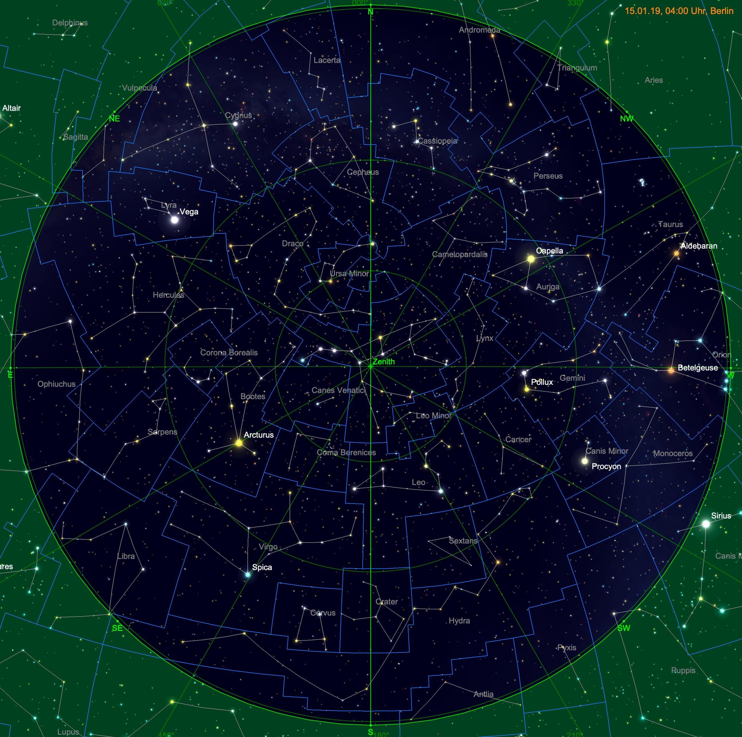Sternhimmel am 15. Januar um 04:00 Uhr