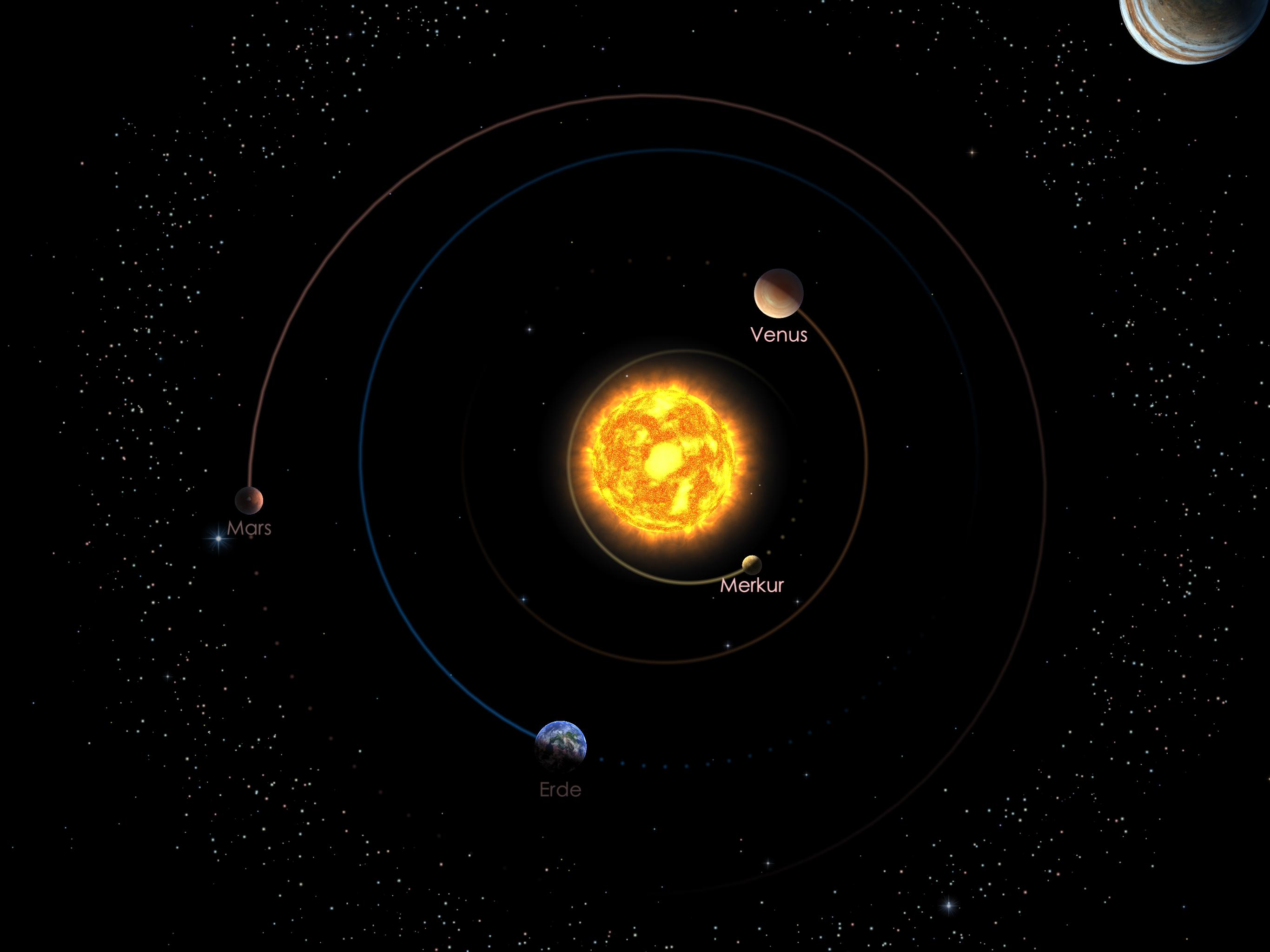 Die Positionen der inneren Planeten am 01.03.21