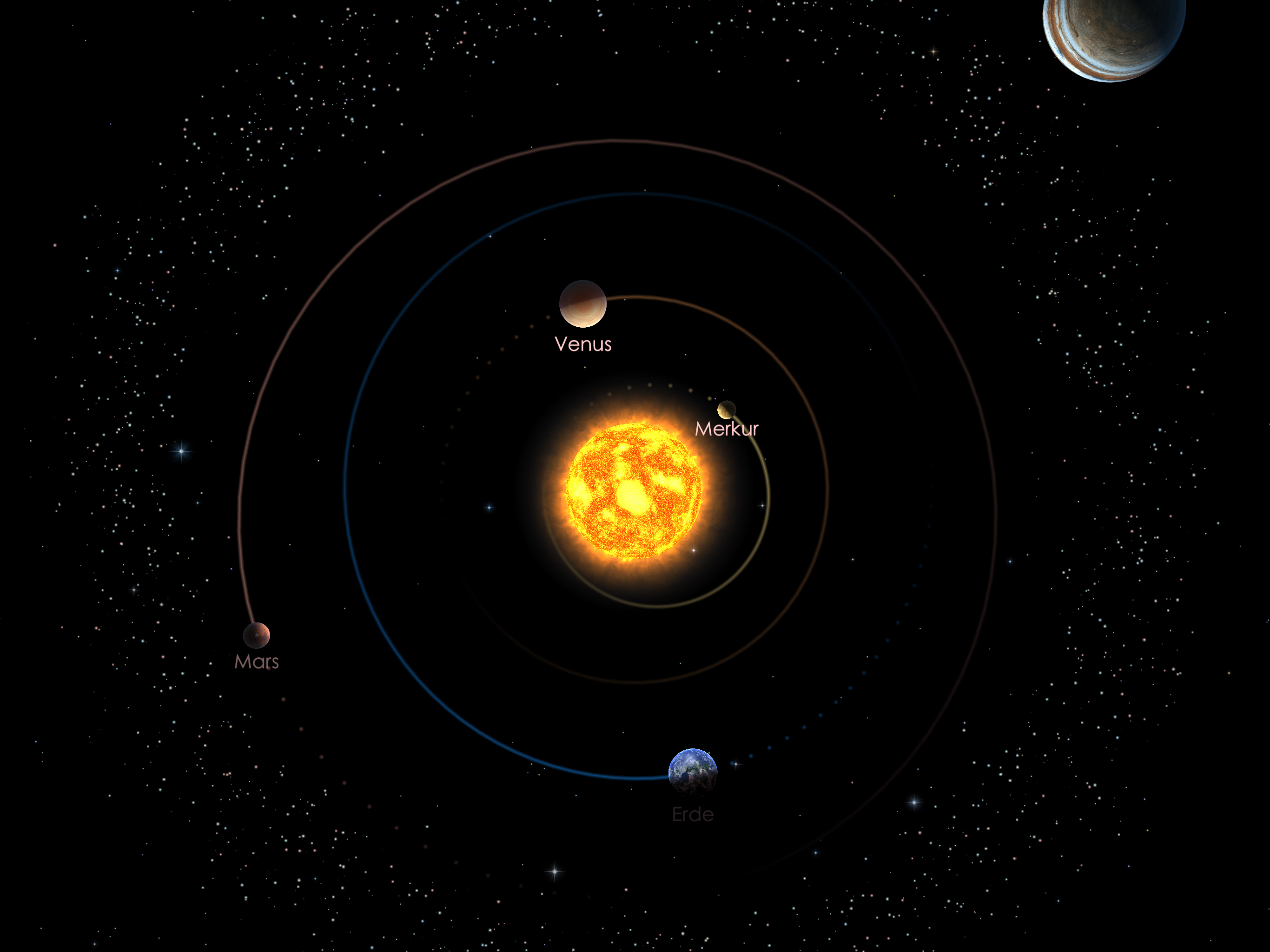 Die Positionen der inneren Planeten am 01.04.21