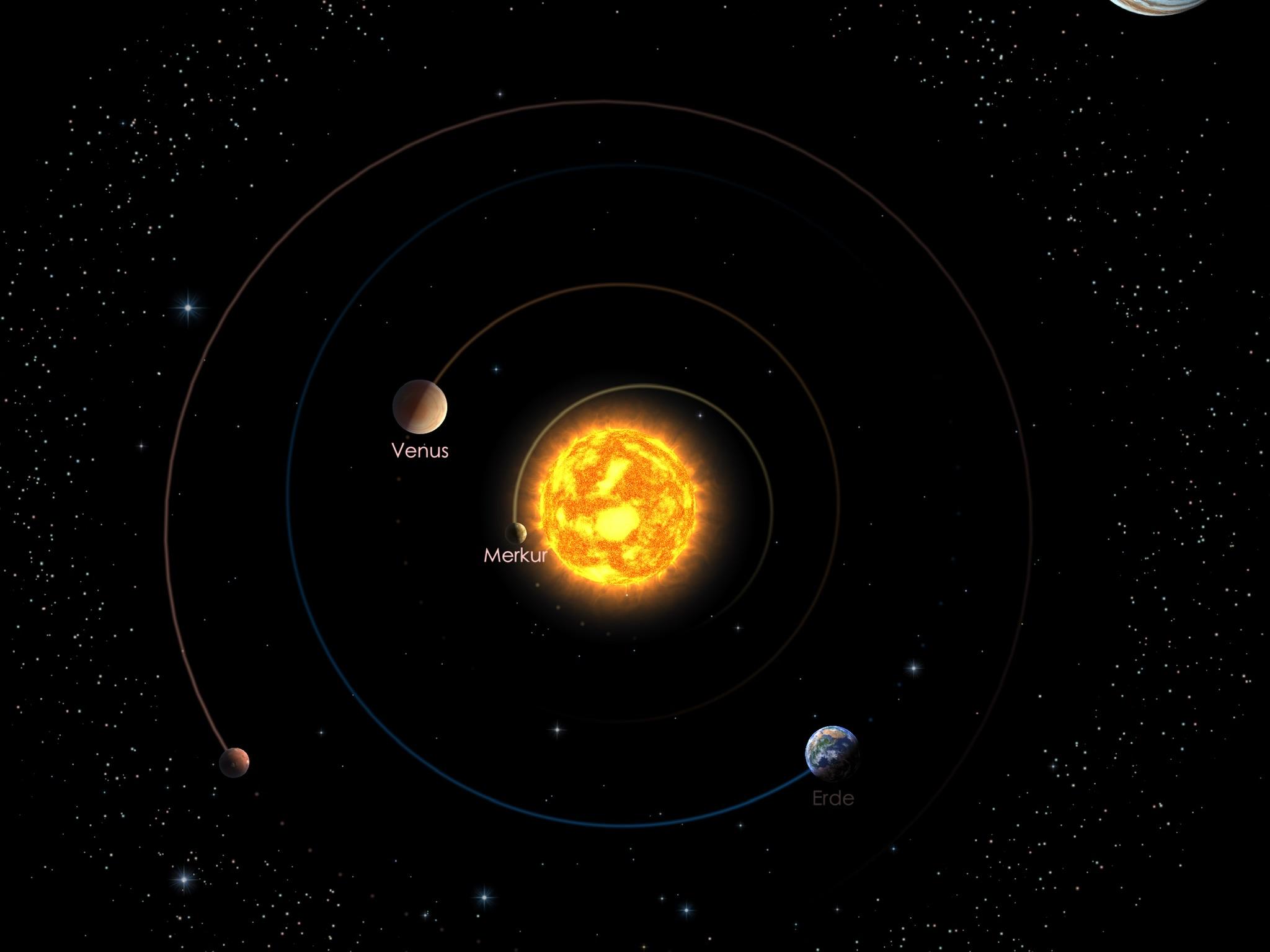 Die Positionen der inneren Planeten am 01.05.21