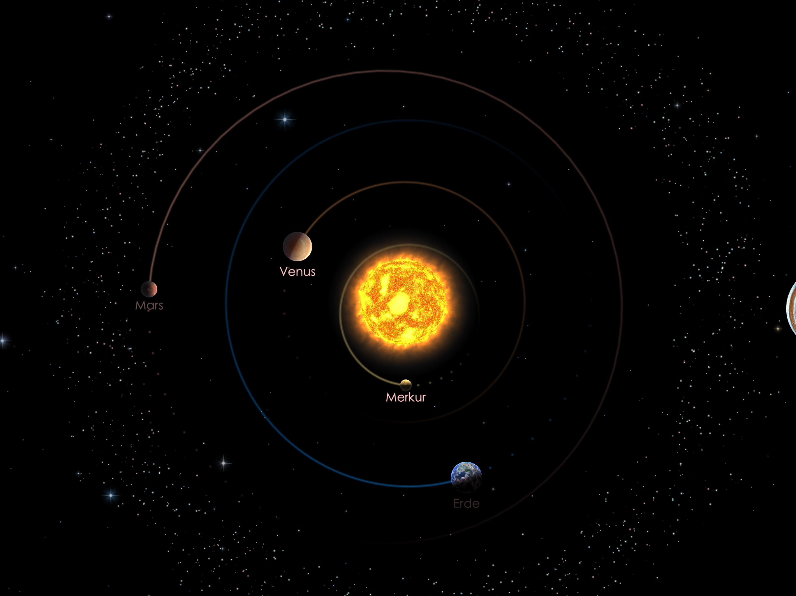 Die Positionen der inneren Planeten am 01.06.21