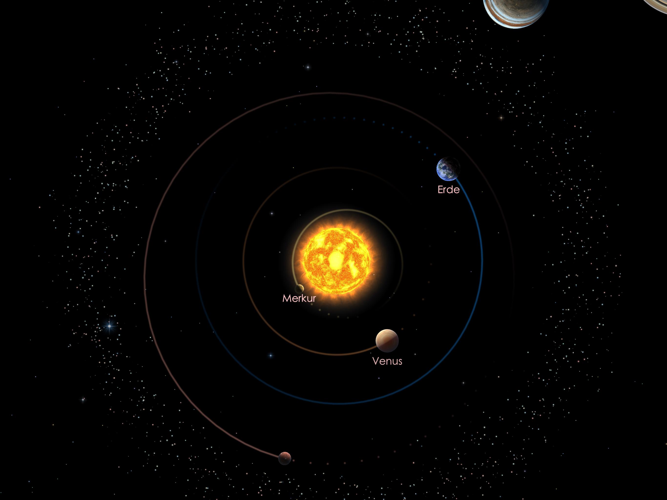 Die Positionen der inneren Planeten am 01.08.21