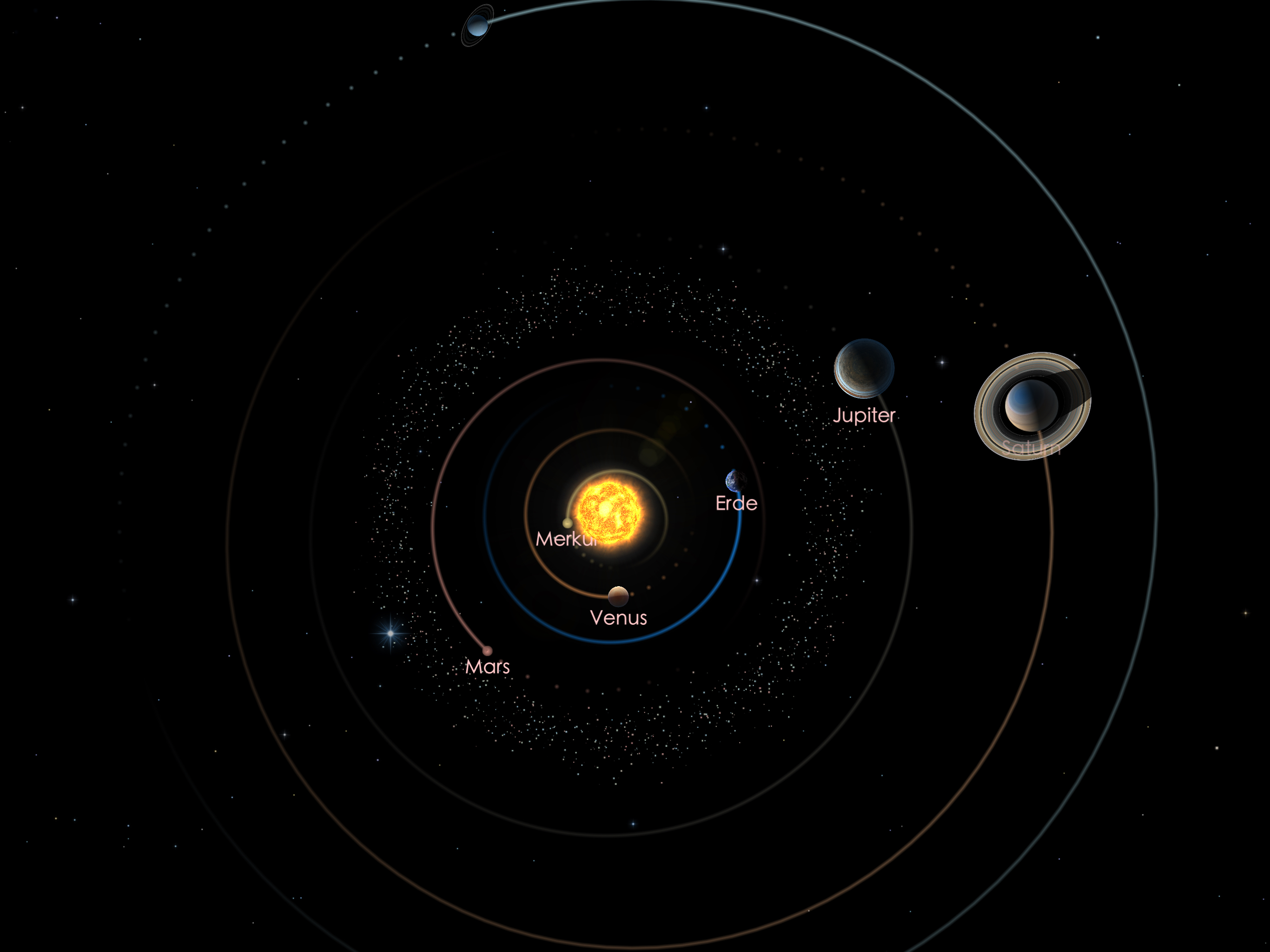 Die Positionen von Jupiter und Saturn am 01.08.21