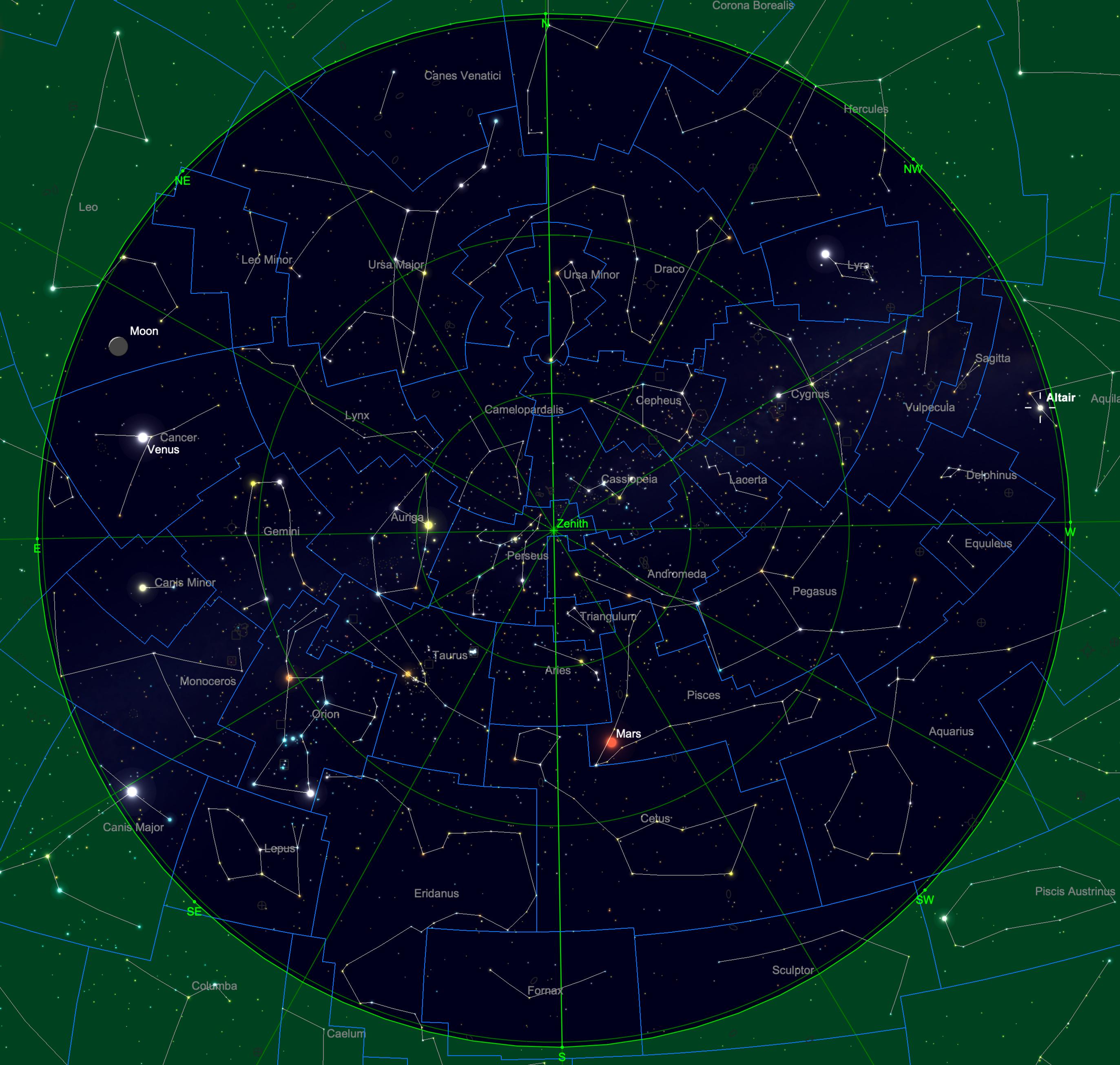 Sternhimmel am 15.09. um 04:00 Uhr