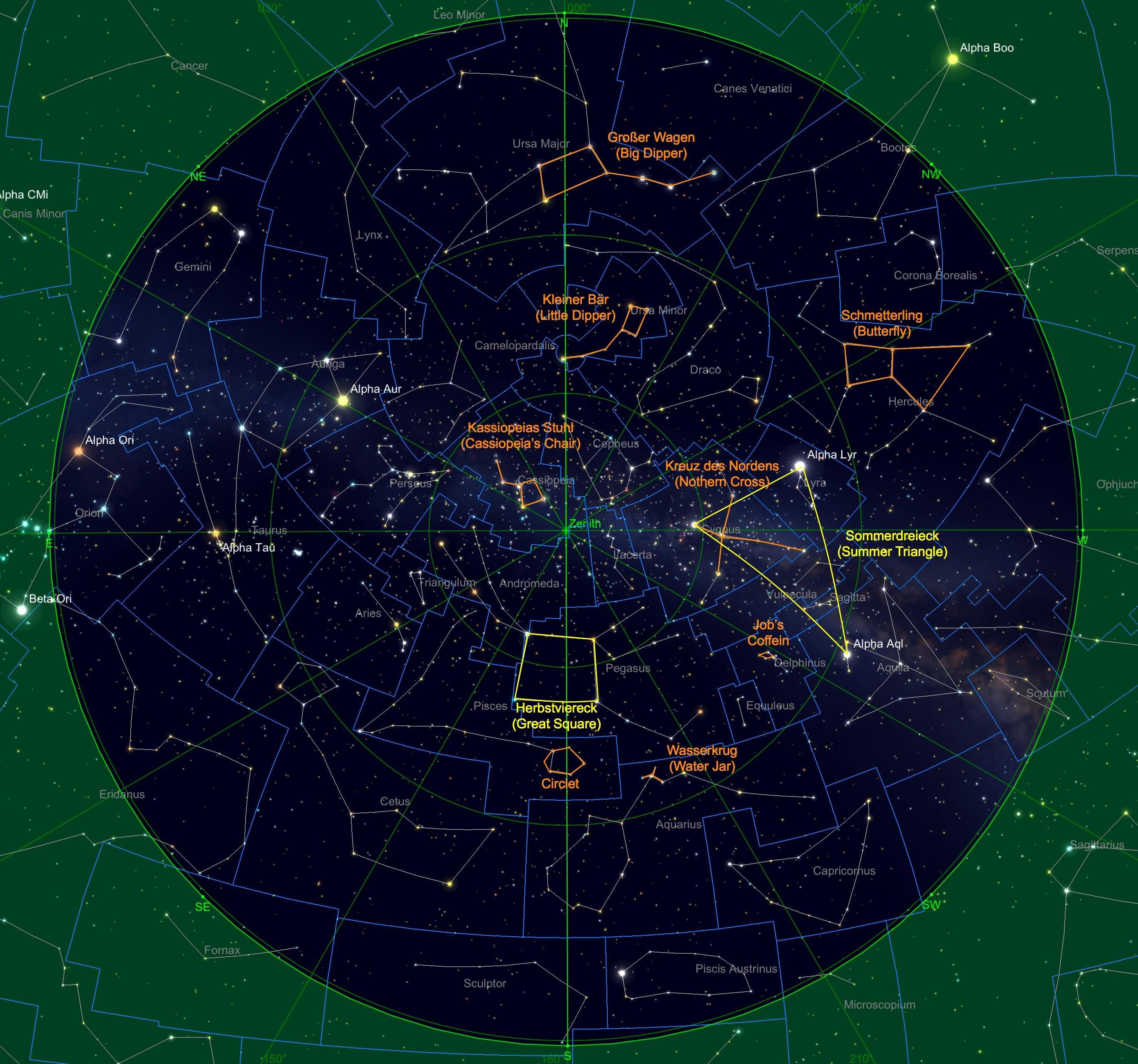 Sternhimmel am 15.10. um 23:00 Uhr