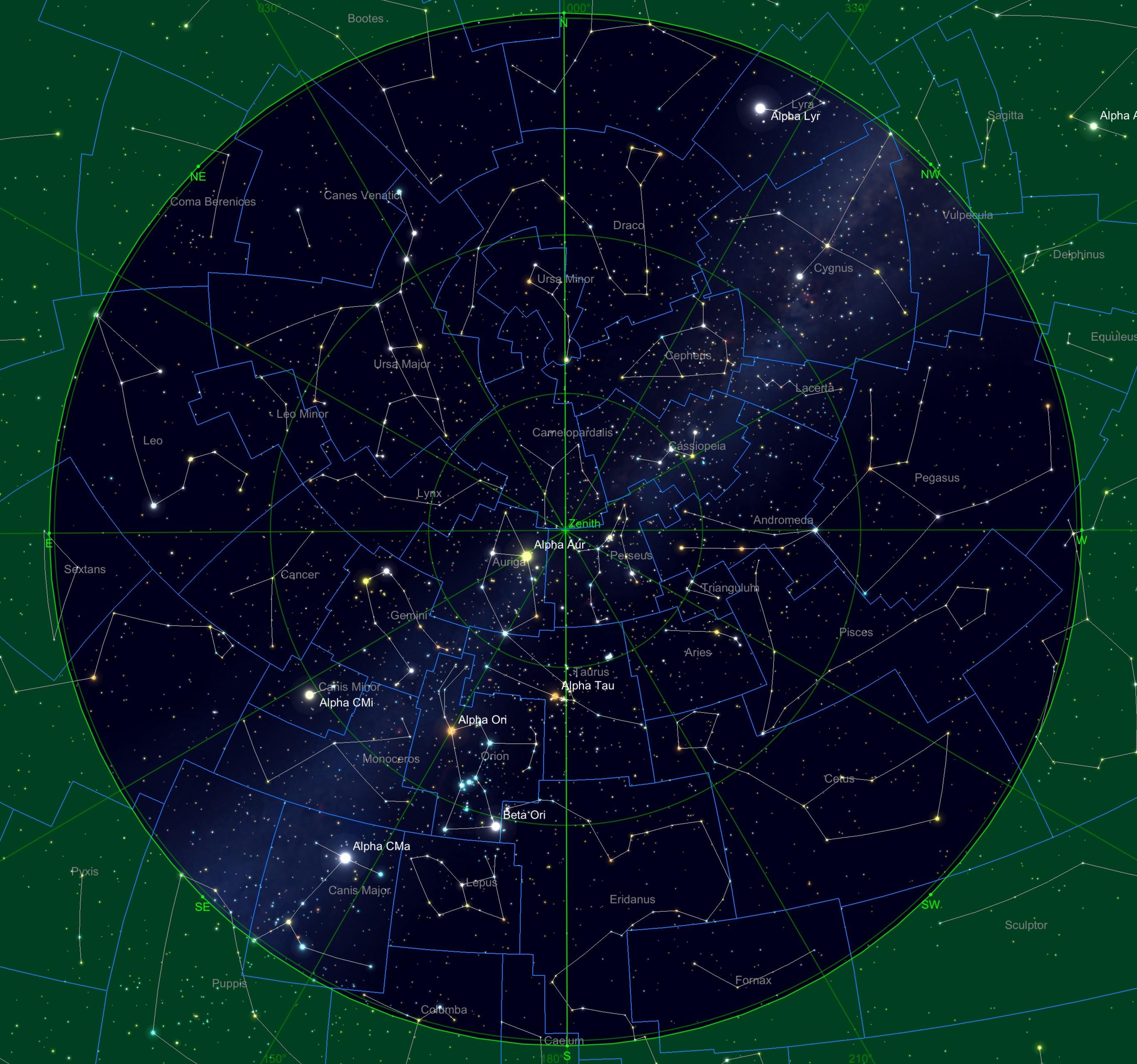 Sternhimmel am 15.10. um 04:00 Uhr